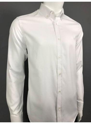 Abbate Düğmelı Yaka Oxford Dokulu Casual Gömlek Beyaz